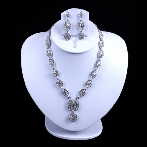 Antique Indian Necklace With Silver Plated And Sparking White Stones