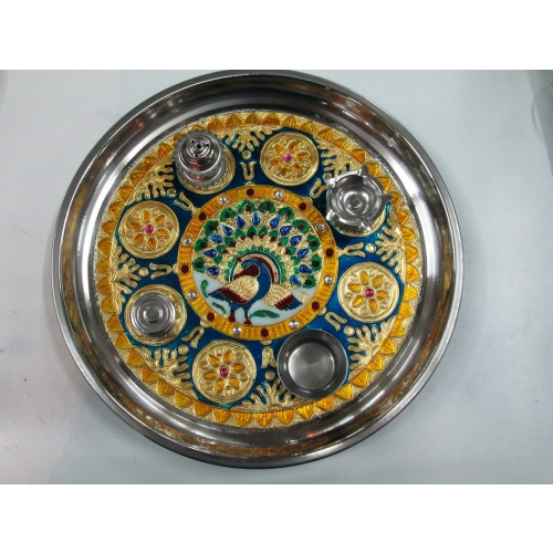 Buy meenakari steel puja thali with puja accessories rakhi for Aarti thali decoration with grains