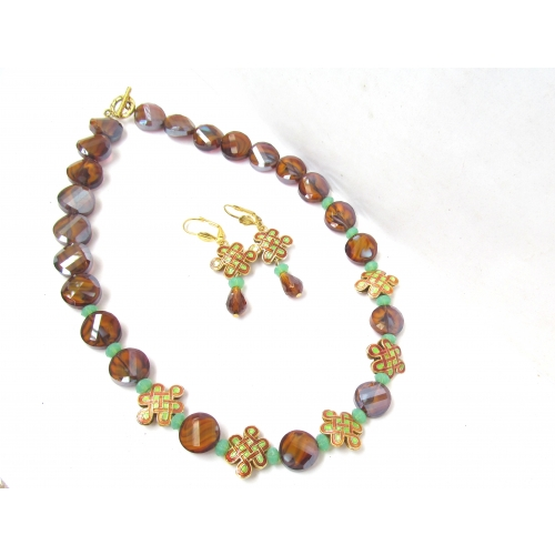 Coffee Brown Coin And Enamel Bead Necklace And Earring Set.