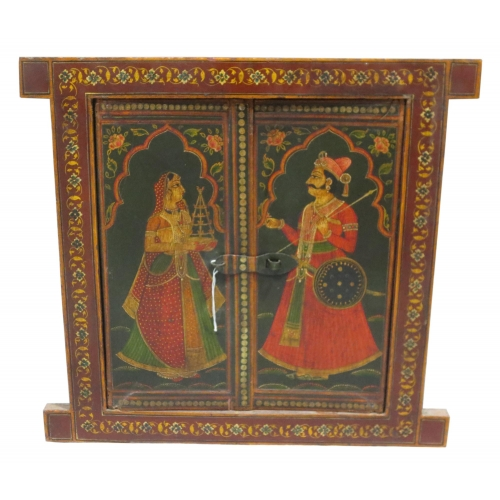 Buy wooden mughal king and queen painted window in antique for Where to buy old windows for crafts