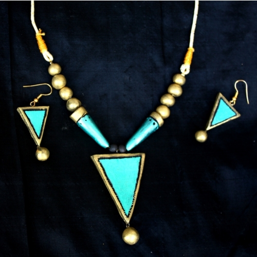 Green Gold Terracotta Necklace Set