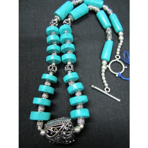 Sea Green N Oxidised Necklace