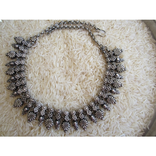 Silver Alloy Oxidized Necklace