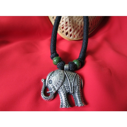 Black Thread Mala With Elephant Pendent.