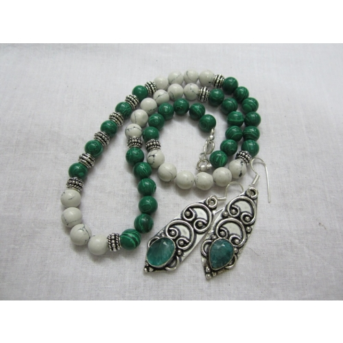 White And Green Stones And Silver Finish Handmade Oxidized Necklace.