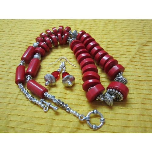 Red Stone Beads And Silver Finish Oxidized Handmade Mala
