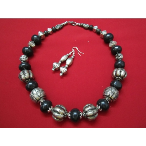 Oxidized White Metal Silver Finish Necklace