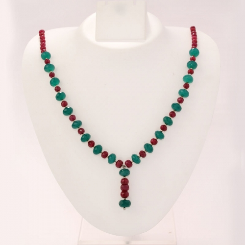 Ruby And Green Onyx Necklace Set