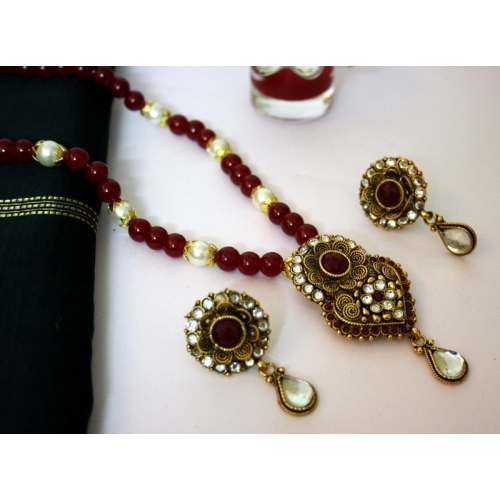 Antique Gold And Maroon Set