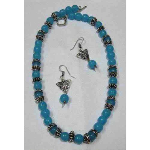 Blue Round Bead Necklace