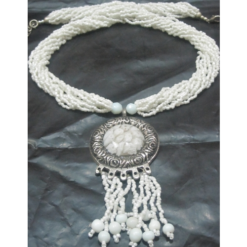 White Round Pendent, Necklace
