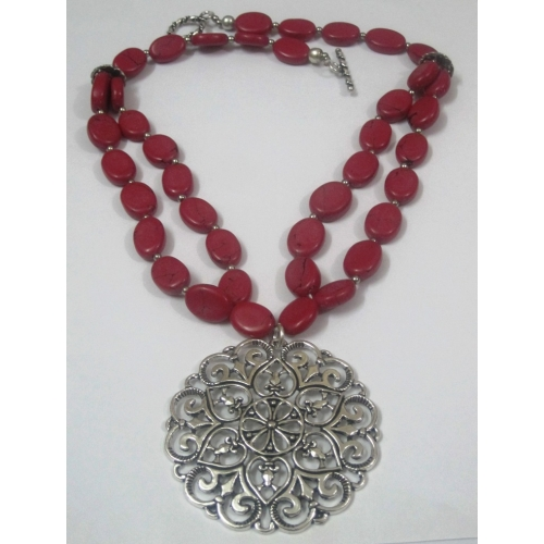 Pink Oval Beads Four Strand Necklace