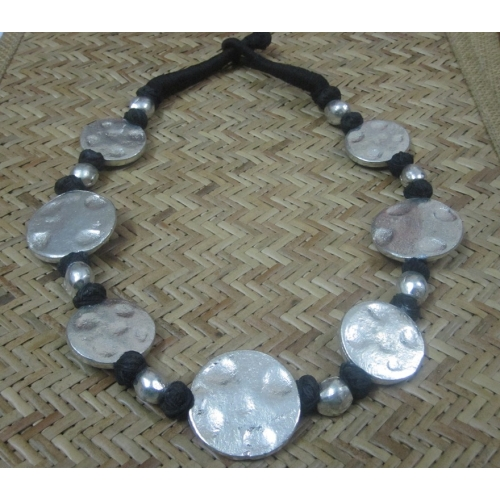 Beaten Coin Shape Necklace