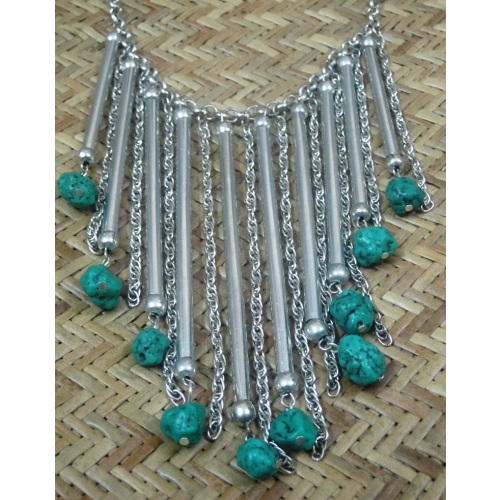 Turquoise Silver Piper Necklace