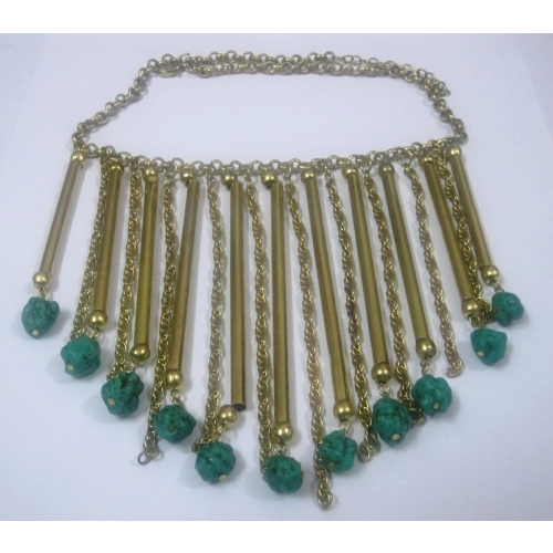 Turquoise Brass Piper Necklace