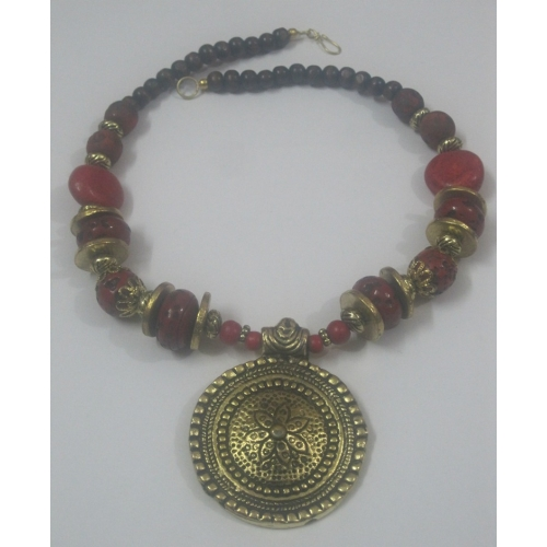 Brass Medallion Red Beaded Pendant Necklace