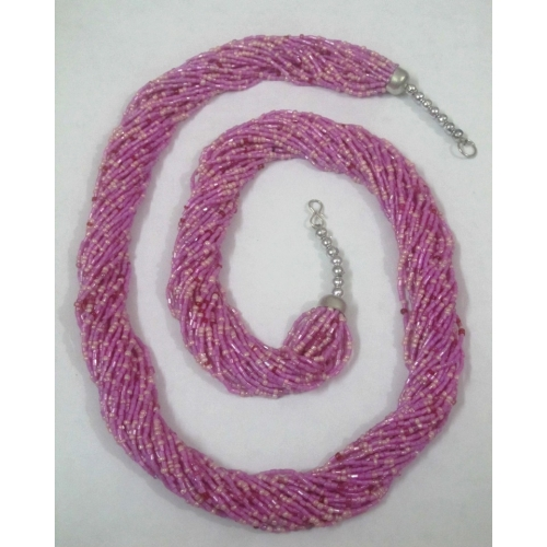 Pink Glass Beads Multi Strands Long Necklace