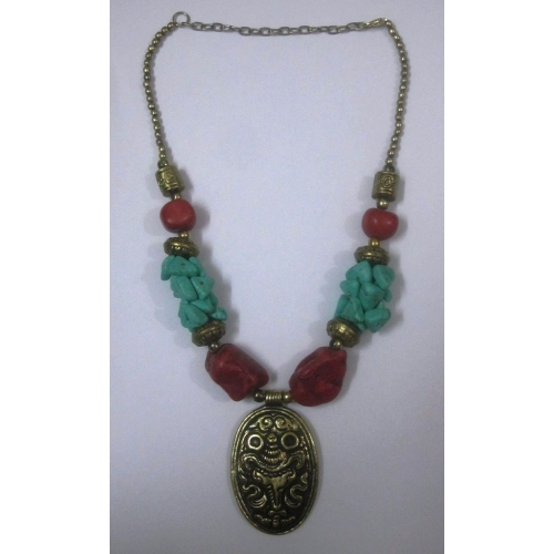 Red And Turquoise Bead Necklace