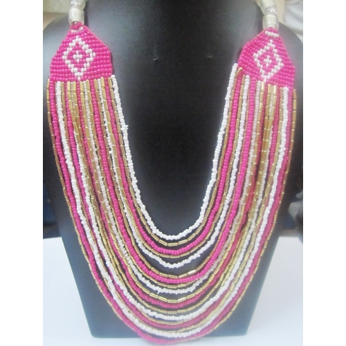 Beautiful Pink And Purple Seed Beads Multi Strand Necklace