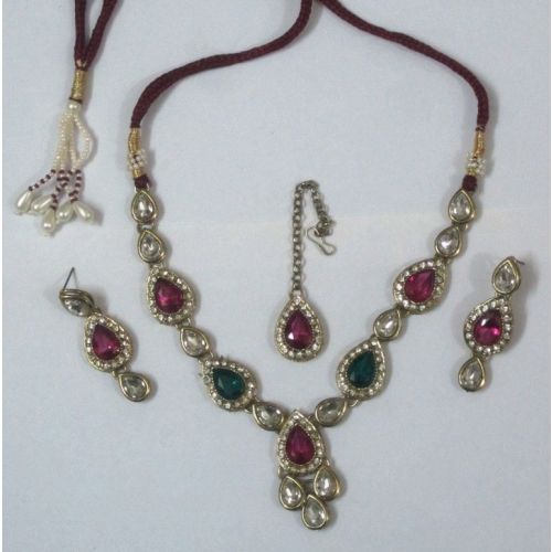 Elegant Pink Green Stone Stud Necklace -  Indian Bridal Wear Collection