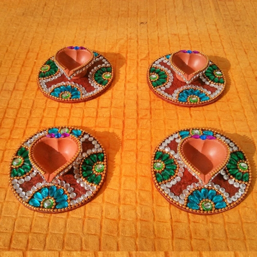 Kundan diya plate decorative diya ganesha navaratri for Art and craft for diwali decoration