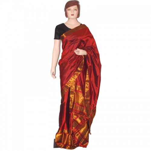 Pure Assam Mulberry Silk Mekhela Chador With Exotic Golden Thread Weaving Works