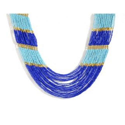 Blue Glass Beads Necklace - Cosma