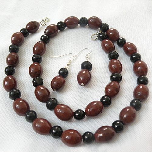 Brown And Black Necklace Set - Fashion Jewels