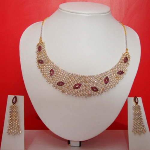 Diamond Necklace With Earrings Set