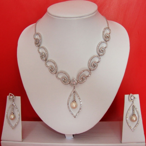 White Necklace With Earrings Set