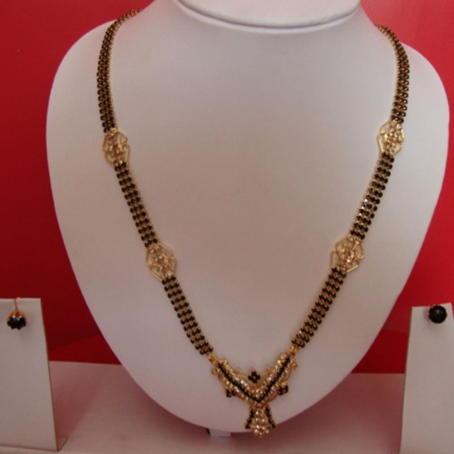 Fancy Mangalsutra With Earrings Set