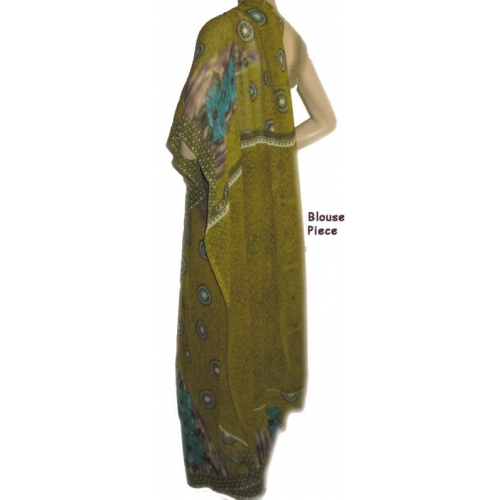 Casual Wear / Daily Wear Olive Printed Saree Synthetic Chiffon Mix Sari