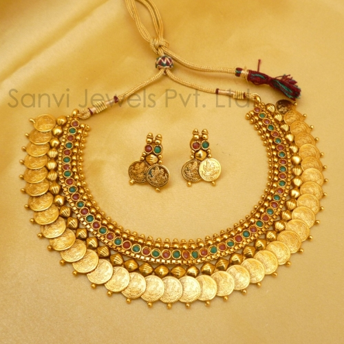 Buy temple jewellery coin necklace online craftsvilla for East indian jewelry online