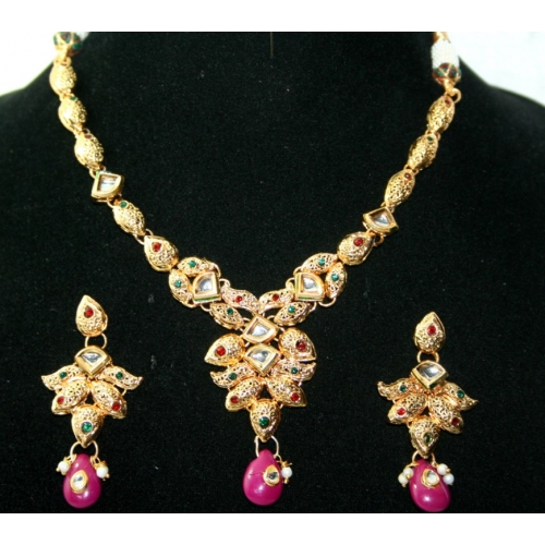 1 Gram Gold Platted Studded With Kundan And Cz Stones