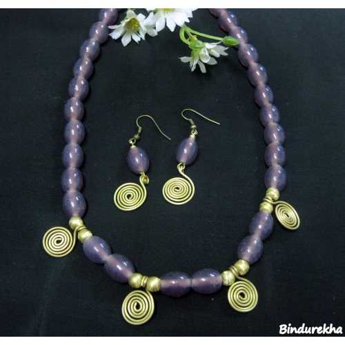 Purple Beads Necklaces Set