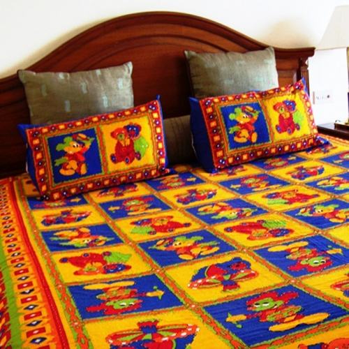 Special Kantha Work Allover With Bright Prints Bedding Set