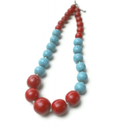 Turquoise & Red Bead Necklace- Champa Qali
