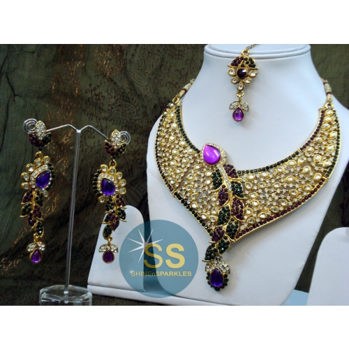 Vaidehi Necklace Set -green Purple - Shine N Sparkles