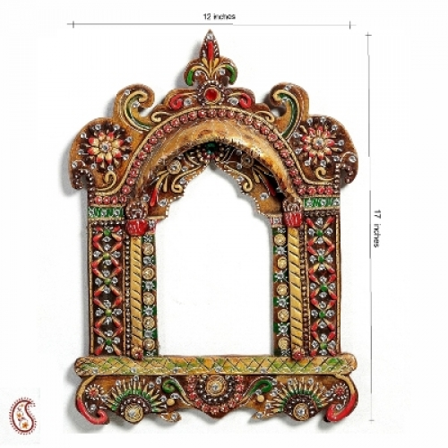 Painted Wood And Clay Work Jharokha With Kundans
